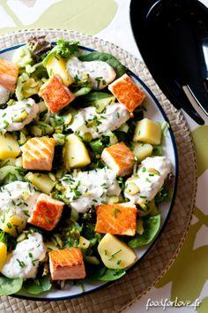 Salade+saumon,+pommes+de+terre+et+concombre+mariné+sans+gluten. Raw Food Recipes, Seafood Recipes, Salad Recipes, Cooking Recipes, Healthy Recipes, Healthy Cooking, Healthy Eating, Sin Gluten, Gluten Free