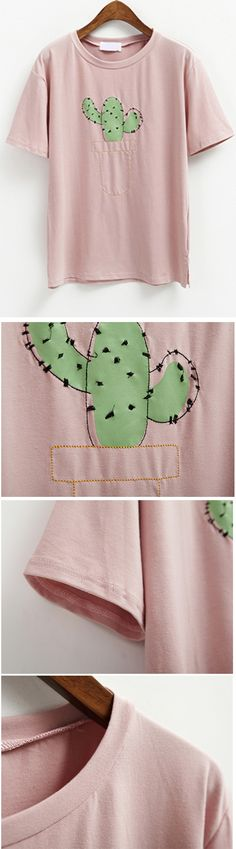 Cute Print - Cactus - Stylish Cactus Pattern Short Sleeve Round Neck T-Shirt For Women