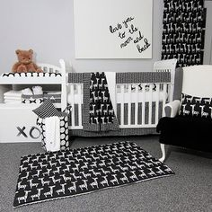 Sweet Kyla Crib Bedding Set Groovy Giraffe - Large bold geometric shapes and black & white and giraffes come together to make a bold whimsical statement. Boys and girls will be visually stimulated with the interactive patterns.