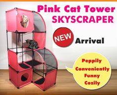CAT KITTEN PINK PLAY TOWER GYM TREE SCRATCHING POLE POST FURNITURE SKYSCRAPER - US $94.71