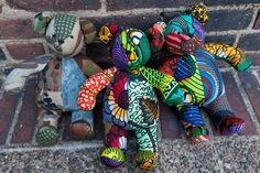 Kumanokoido  Malian print and camouflage teddy bears for a good cause {via coolhunting}