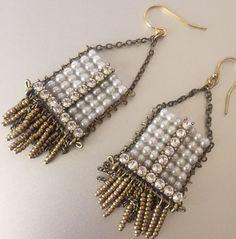 SILPADA BEAUTIFUL FAUX PEARL DANGLE BRASS HOOK DROP TASSEL FRINGE EARRINGS NEW   | eBay