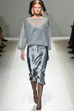 TREND: METALLIC Max Mara Style.com's Guide to the Spring 2014 Runway Trends sheer, silver, midi skirt, long, short hair, cropped hair, boxy