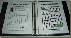 Printable preschool dot-to-dots and mazes, print, put in sheet protectors and pop them into binder!  Use dry erase marker with kleenex to wipe off