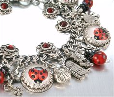 Silver Charm Bracelet Lucky Ladybug Vintage by BlackberryDesigns. $87.00 USD, via Etsy.