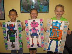Jamestown Elementary Art Blog: 2nd Grade Da Vinci Invented Robots Maalataan robotit ja tehdään yksityiskohdat tusseilla. Kehykset painamalla.