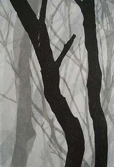 Helen Mueller,    'Requiem Study 2' 2013,    woodblock print, overlayed - unique,  38 x 26cm