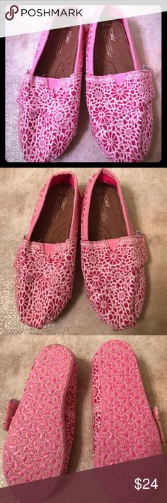 Girls Toms Pink Shoes - Brand New! Super cute and girly pink Toms shoes brand new Never Worn! TOMS Shoes Slippers