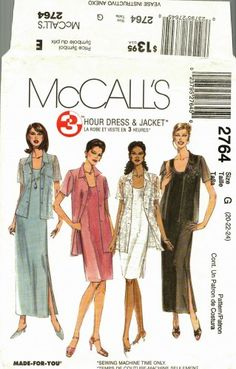 Great for warm weather weddings! McCall's 2764 Pattern uncut 20 22 24 3 hour sleeveless dress jacket
