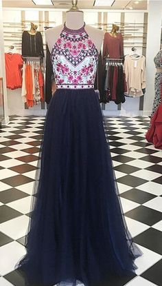 Prom Dresses,Evening Dress,Party Dresses,Modern Halter Floor-Length Navy Blue