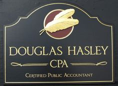 Douglas Hasley CPA Business Sign, by Danthonia Designs. Carved & gilded text with hand-sculpted & artist-painted feathers
