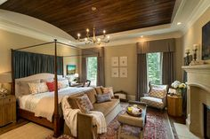 Sherwin Williams Macadamia for a Traditional Bedroom with a Bedroom Sofa and Southern Living Home by ID Studio Interiors Bedroom Fireplace, Bedroom Sofa, Home Bedroom, Master Bedroom, Bedroom Decor, Bedroom Ideas, Bedroom Photos, Bedroom Furniture, Bedroom Ceiling