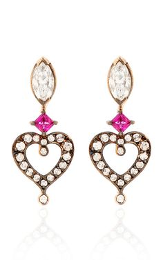 Shop 18K Rose Gold Love Earrings by Sabine G for Preorder on Moda Operandi