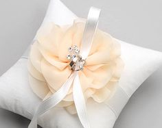 Ivory flower ring pillow wedding ring bearer by louloudimeli