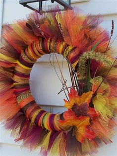 Autumn / Fall Tulle Wreath OP: fall-decor o. Thanksgiving Crafts, Fall Crafts, Holiday Crafts, Holiday Fun, Diy Crafts, Holiday Quote, Fall Tulle Wreath, Fall Wreaths, Tutu Wreath