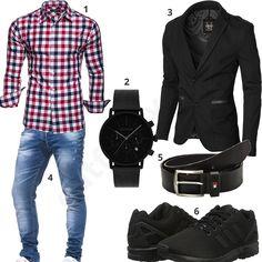 Kariertes Hemd, Sakko und Leif Nelson Jeans Men's outfit with black Moderno jacket, plai Business Outfit Herren, Men's Business Outfits, Mode Outfits, Casual Outfits, Men Casual, Jeans Und Converse, Look Fashion, Mens Fashion, Fashion Trends
