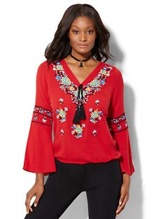 Shop 7th Avenue - Embroidered Peasant Blouse. Find your perfect size online at the best price at New York & Company.