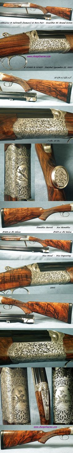 "FO408 & FO409, Abbiatico & Salvinelli, (Famars) Gardone Val Trompia, Brescia Italy: A Consecutive Numbered Pair of 12 Bore Excalibur BL Round Action Game Guns Finished at the factory on September 22, 2003, Each with an Original Extra Set of Barrels, All 4 barrels are 29 1/2"" Solid Rib Demibloc barrels (I believe A&S call them Chopper Lump - They are not Monobloc as nearly all Excalibur are)"