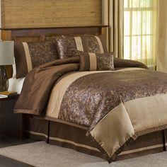 Lush Decor Metallic Animal 6 Piece Comforter Set in Brown / Gold