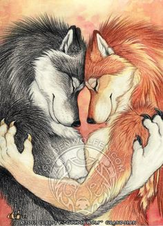 Anthro Wolf Lovers Couple Print