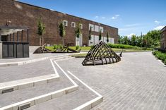 The Rehabilitation of the Zsolnay Factory by Ujirany / New Directions Landscape Architects « Landscape Architecture Platform Urban Furniture, Street Furniture, Landscape Architecture, Landscape Design, Landscape Steps, Pavement Design, Abandoned Factory, Wooden Decks, Contemporary Landscape