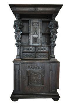 "Antique Gothic French Oak Cupboard w/ Atlantes Soldier Columns Ca 1880 85""H"