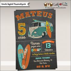 Convite Festa Surf Chalkboard Digital | LittleFaces | Elo7