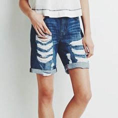 Distressed Denim Bermuda Shorts 100%cotton; five pocket construction, zip fly; woven; never worn; if you like the stripe top, let me know and I'll include it for extra $3  Forever 21 Shorts Jean Shorts
