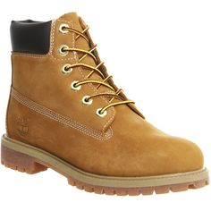 Timberland Juniors 6 Inch Premium Waterproof Boots ($180) ❤ liked on Polyvore featuring shoes, boots, ankle booties, ankle boots, wheat nubuck, women, water proof boots, lined ankle boots, waterproof ankle boots and short lace up boots
