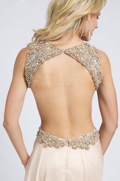 2015 elegant champagne open back beaded sequins chiffon long prom dress, ball gown, evening dress #promdress