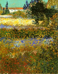 """""""Flowering Garden"""" (1888) - Vincent van Gogh. Post- Impressionism. Oil. Metropolitan Museum of Art, NYC. I got a print of this when I went there 15 years ago!!"""