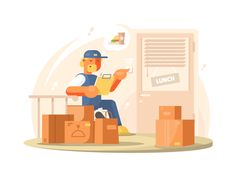 Buy Uniformed Deliveryman Character by on GraphicRiver. Uniformed deliveryman delivers parcels and packages at address. Flat Design, Design Art, Graphic Design, Flat Illustration, Character Illustration, Vector File, Vector Art, Information Graphics, Cartoon Characters