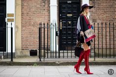 #ElenaPerminova & her personalised Burberry wrap and killer boots. London.