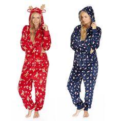 Unisex Mens Ladies Soft Fleece Hooded Christmas Onesie Sleepsuit Pyjamas