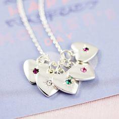 Family Birthstone Starburst Heart Necklace