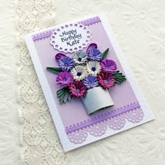 Paper Quilling Card Paper Quilled Personalized Birthday Wedding Congratulations Anniversary Purple Flower Handmade by Enchanted Quilling