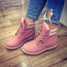 Bocanci dama roz pal imblaniti din piele ecologica cu insertii argintii Timberland Boots, Shoes, Fashion, Moda, Zapatos, Shoes Outlet, Fashion Styles, Fasion, Footwear