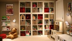 """Stacked EXPEDIT """"built-in"""" bookcases. Using the Kallax instead, and in black -- and possibly a four-by-four with a two-column laid on top."""