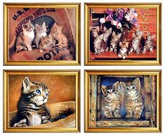 Cute Cats Funny Animal Kids Room Four Set Golden Framed Pictures Wall Decor Art Print Posters Wall Decor Pictures, Framed Pictures, Funny Cute Cats, Cat Art Print, Cat Posters, Poster Prints, Art Prints, Cat Wall, Wall Art Decor