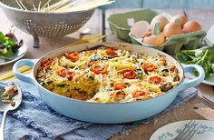 Have fun with the kids and make this savoury cake out of spaghetti! It's packed full of cherry tomatoes, spinach and cheese. Find out more at Tesco Real Food.