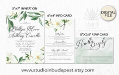 Green and Magnolia Wedding Invitation set, white floral wedding, garden wedding, outdoor wedding cards, Magnolia wedding suite This is a printable wedding suite for easy, affordable, and beautiful at-home printing. I customize the set with your information for you and then you may print the files at home or at any professional printing services. *Please note that no physical item will be sent - these are digital files personalized for you and sent electronically. The price does not…