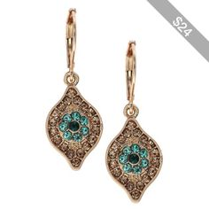 Women's Lonna & Lilly Gold-Tone Encrusted Drop Earrings Green
