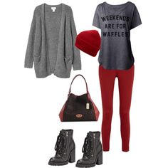Comfy and Casual by Deranged Diva. A fashion look from February 2015 featuring Monki cardigans, rag & bone/JEAN leggings and Ash boots. Browse and shop related looks.