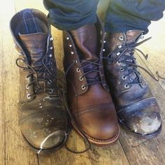 """redwingshoestoreamsterdam: """"Iron Rangers used for heavy duty!! This customer is so impressed by the quality of Red Wing Shoes, he decided to get another pair! Rock on duude!! - http://ift.tt/180OFjM - http://ift.tt/2f4NhLQ """""""