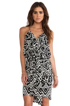 T-Bags LosAngeles Knot Front Knee Length Dress in Black White Ikat from REVOLVEclothing