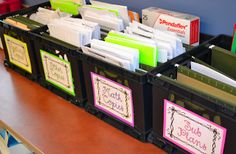 label the crates with copies for the week, unit, etc.
