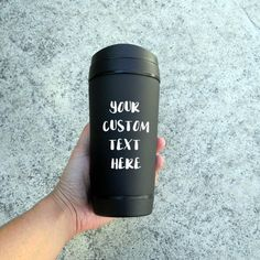 Custom text, personalied travel mug, can be printed with the choice of the following print colours - white, white glitter, baby pink or silver. Want to have your favourite quote, saying, parody, name or song verse on a travel mug? Then this mug is for you.  The innovative 450ml thermal mug with a unique neoprene outer sleeve (removable), that makes it very comfortable to hold and offers excellent insulation to keep drinks hot for longer.  This black travel mug is printed with heat transfer…
