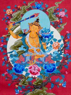 Thangka Art: Manjusri - Bodhisattva of Ultimate Wisdom 文殊師利菩薩 Tibet Art, Vajrayana Buddhism, Buddhist Symbols, Spiritual Images, Thangka Painting, Buddha Art, Tibetan Buddhism, Japan Art, Sacred Art