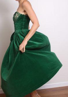 Vintage Green Velvet strapless corset dress