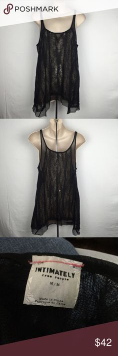 """Free People Intimately lace sheer tank top shirt M This is a new Free People long sheer tank. It is sheer lace and mesh fabric. Side medium. Made of 65% polyester 35% rayon. Bust 38"""" length 30"""". Never been worn. New condition. Free People Tops Tank Tops"""